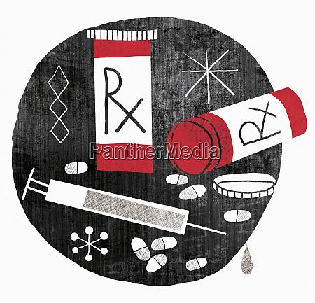 prescription medicine bottles capsules and hypodermic