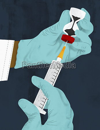 doctor filling syringe from hourglass phial