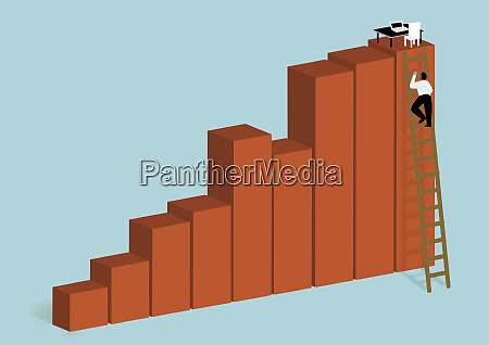 businessman climbing ladder to reach office