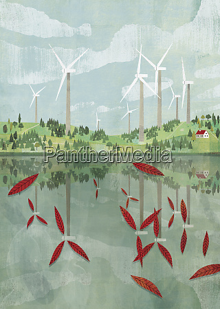 wind turbine blades reflected as leaves