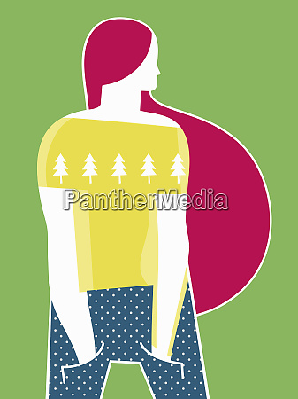 girl wearing christmas pattern top
