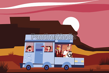 happy family driving motor home on