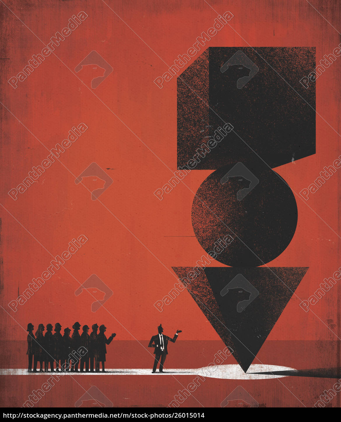 businessman, showing, pile, of, balancing, shapes - 26015014