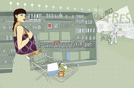 fashionable woman shopping in supermarket