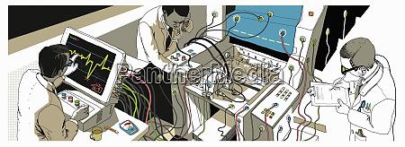 doctors monitoring health of paper printer