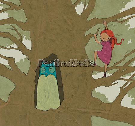 girl climbing tree watching owl
