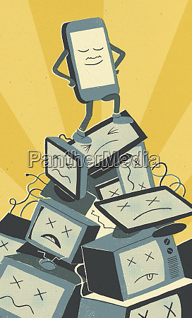 smart phone on top of pile