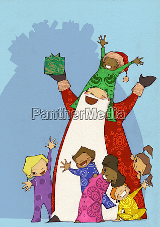excited children celebrating christmas with santa