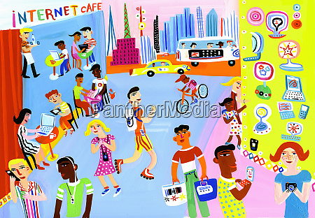 young people using mobile technology in