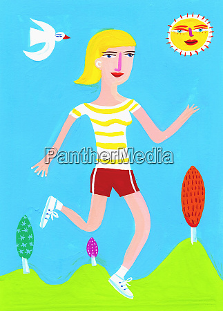woman running on sunny day