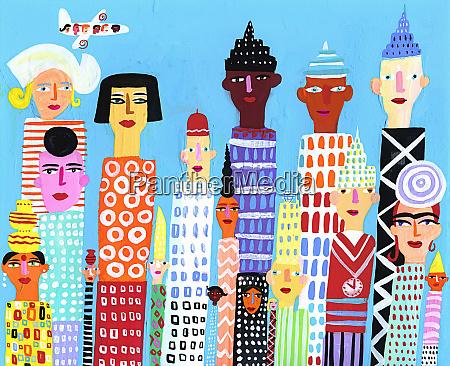 city skyscraper buildings with multi ethnic