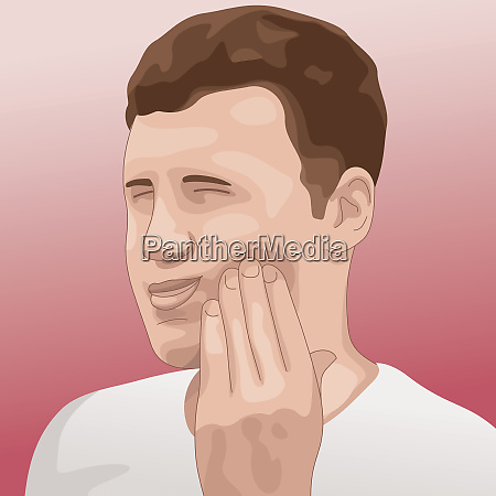 man grimacing in pain with toothache