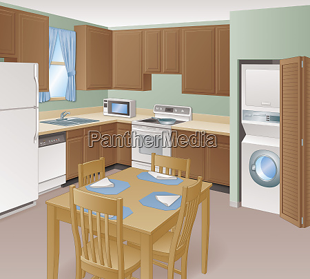 home kitchen interior with domestic appliances