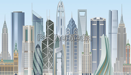 montage of famous international landmark skyscrapers