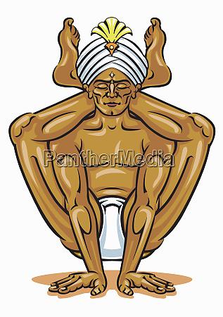 flexible man practicing yoga meditation balancing