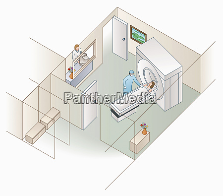 high angle view of patient and