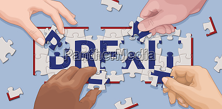 hands cooperating to solve brexit jigsaw
