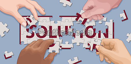 hands cooperating to solve solution jigsaw