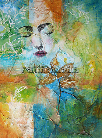 mysterious face of woman in abstract