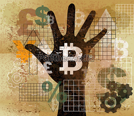 hand choosing bitcoin from foreign currency