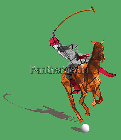 polo player riding horse hitting ball