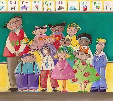 portrait of teacher with children in