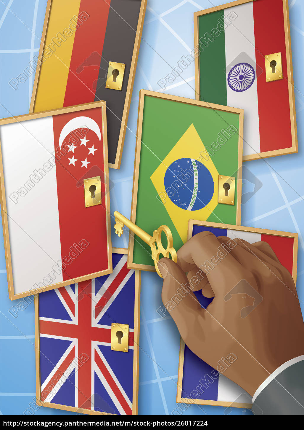 hand, with, key, unlocking, international, flag - 26017224