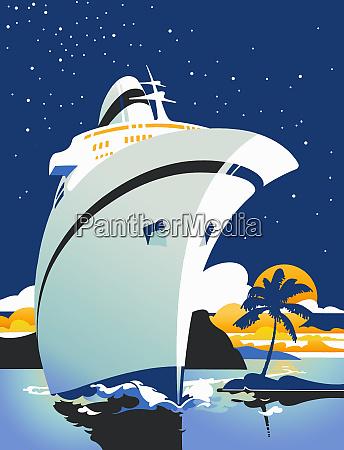 luxury cruise ship sailing in tropics