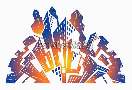 fan shape city skyscraper buildings