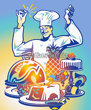 happy chef clicking fingers as food
