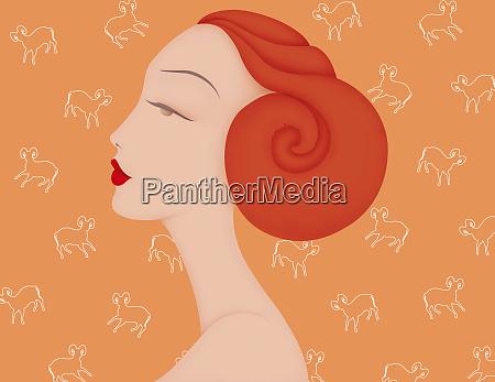 beautiful woman with horn hair bun