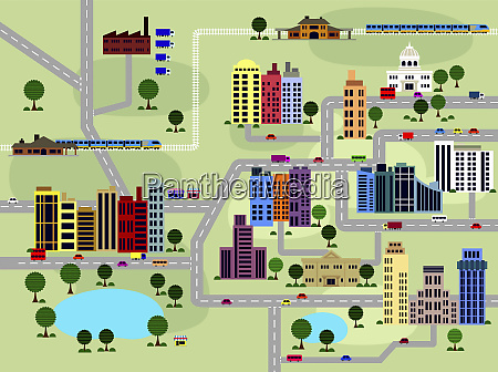 layout of roads and buildings in