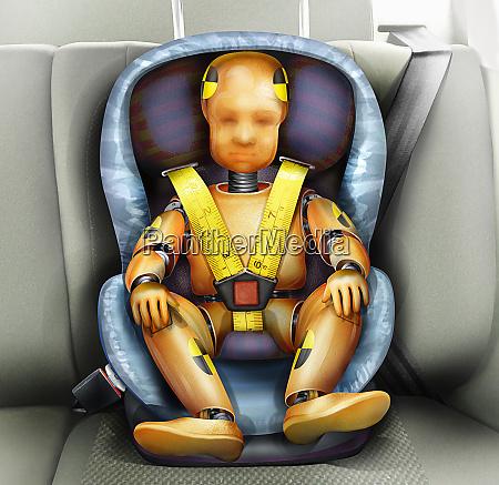 child crash test dummy in car