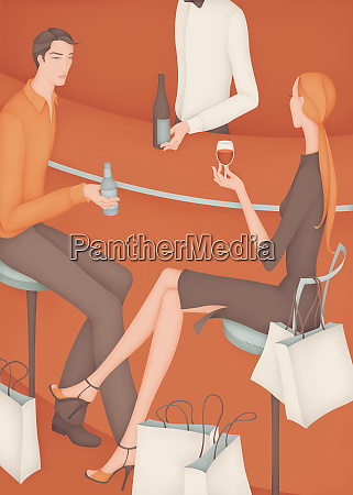 young couple drinking at bar with