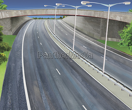 vacant freeway with flyover bridge