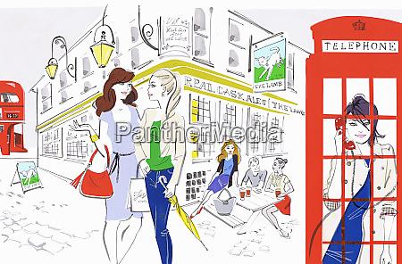 people enjoying city life outside of