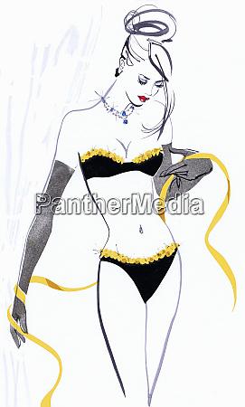 beautiful woman wearing lingerie holding measuring