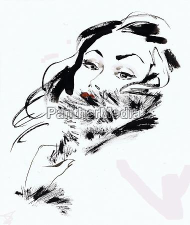glamorous brunette woman wearing fur
