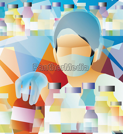 doctor wearing surgical mask with medicine