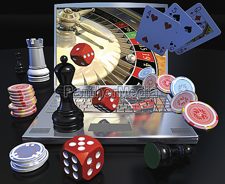 online gambling with laptop computer