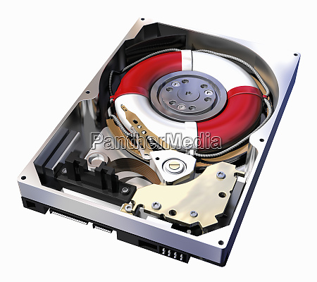 life ring inside computer hard drive