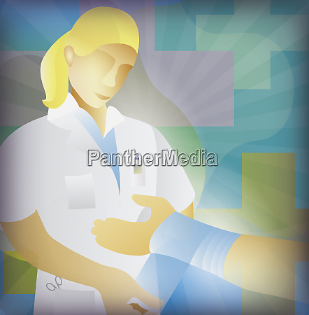 nurse bandaging injured wrist of patient