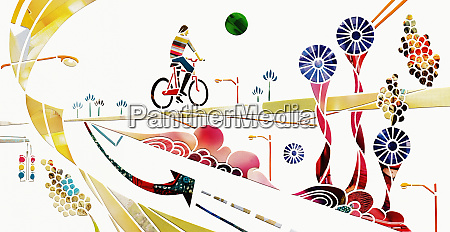 cyclist on journey through abstract landscape