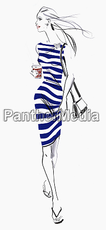 beautiful woman in striped dress with