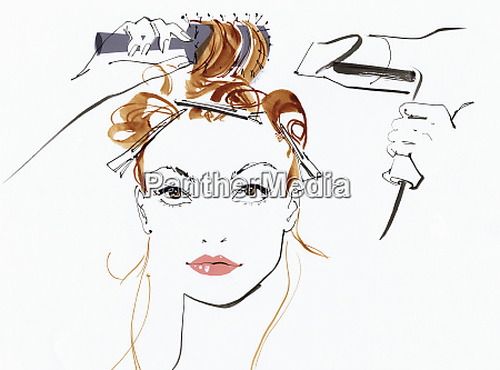 beautiful woman styling her hair with