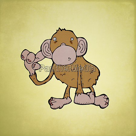 monkey listening with hand on ear