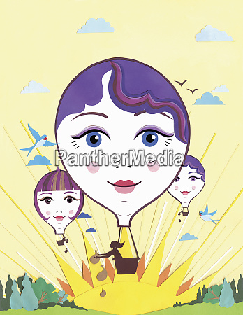 female faces on hot air balloons