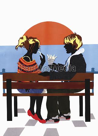collage of teenage couple sitting on