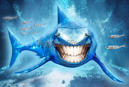 shark swimming with toothy smile looking