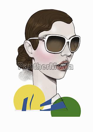elegant, woman, wearing, large, sunglasses - 26019654